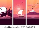 vector illustration of three... | Shutterstock .eps vector #751569619