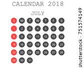 july 2018 calendar. calendar... | Shutterstock .eps vector #751574149