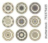 set of nine decorative plates... | Shutterstock .eps vector #751575655