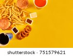 fast food concept with greasy... | Shutterstock . vector #751579621