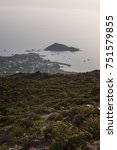 Small photo of Corsica, 28/08/2017: sunset at the northwestern end of Cap Corse on the road to Botticella (Ersa) seen from the Col de la Serra hill with view of the port of Centuri