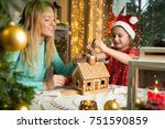 mother and cute little girl in... | Shutterstock . vector #751590859