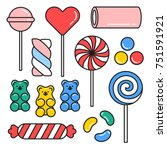 sweet candies hand drawn icons... | Shutterstock .eps vector #751591921