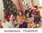 group of young friends sitting... | Shutterstock . vector #751602619