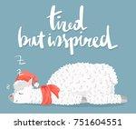 set of cute cartoon lama alpaca ... | Shutterstock .eps vector #751604551