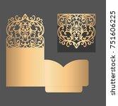 laser cut pocket fold envelope...   Shutterstock .eps vector #751606225