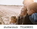 happy family hugging together... | Shutterstock . vector #751608001