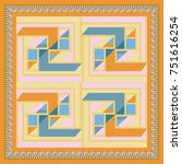 silk scarf with a geometric... | Shutterstock .eps vector #751616254