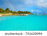 akumal beach rainbow in riviera ... | Shutterstock . vector #751620094