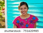 mexican latin woman with mayan... | Shutterstock . vector #751620985