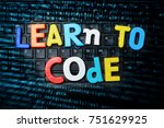 programming code learning  ... | Shutterstock . vector #751629925
