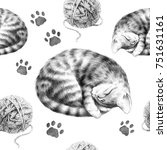 Stock photo pencil drawing pattern with sleeping kitten balls of wool and cat tracks sketch cute cat 751631161