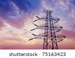 electricity pylons and lines at ... | Shutterstock . vector #75163423