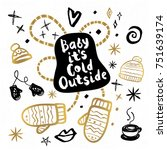 baby cold outside happy new... | Shutterstock .eps vector #751639174