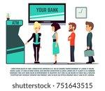 atm queue with bank adviser  ... | Shutterstock .eps vector #751643515