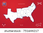 map southern states confederate ... | Shutterstock .eps vector #751644217