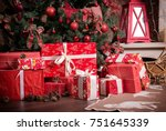 many boxes with christmas... | Shutterstock . vector #751645339