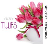 Beautiful Pink Tulips In A Vas...