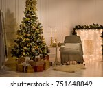christmas decorations in a room ... | Shutterstock . vector #751648849
