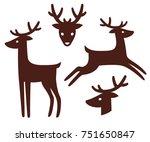 Cartoon Deer Silhouette Set....
