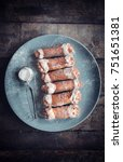 sweet homemade cannoli with...   Shutterstock . vector #751651381