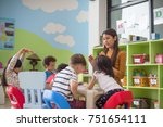 preschool kids kindergarten... | Shutterstock . vector #751654111