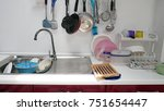 dish not yet washed in the... | Shutterstock . vector #751654447
