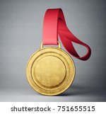 gold medal isolated on a grey... | Shutterstock . vector #751655515