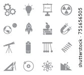 physics icons. gray flat design.... | Shutterstock .eps vector #751656505