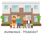 two families home   duplex home.... | Shutterstock .eps vector #751661617