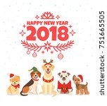 Stock vector happy new year greeting card vector illustration with wishes of a happy new year and group of 751665505