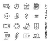 premium set of money line icons.... | Shutterstock .eps vector #751667479
