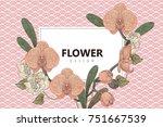 vintage floral greeting card...   Shutterstock .eps vector #751667539