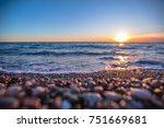 beautiful sunset on the sea | Shutterstock . vector #751669681