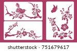 Set Of Stencils. Blossom Cherry ...