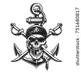 pirate skull emblem with swords ... | Shutterstock .eps vector #751680817
