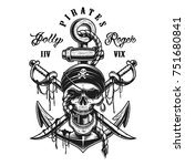 pirate skull emblem with swords ... | Shutterstock .eps vector #751680841