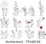 set of wedding pictures  bride... | Shutterstock .eps vector #75168136