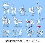 set of wedding pictures  bride... | Shutterstock .eps vector #75168142