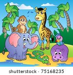 Stock vector african beach with cute animals vector illustration 75168235