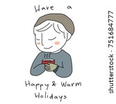 holiday's season greeting card...   Shutterstock .eps vector #751684777