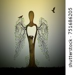 forest soul  tree looks like... | Shutterstock .eps vector #751686205