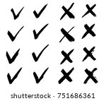 tick and cross signs. hand... | Shutterstock .eps vector #751686361