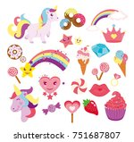 vector illustration set of cute ... | Shutterstock .eps vector #751687807