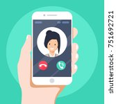 incoming call on smartphone...   Shutterstock .eps vector #751692721