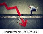 depressed business man looking... | Shutterstock . vector #751698157