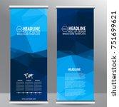 blue roll up business brochure... | Shutterstock .eps vector #751699621