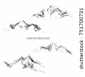 pencil sketch mountain peaks.... | Shutterstock .eps vector #751700731