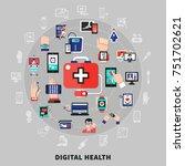 digital health symbols icons... | Shutterstock .eps vector #751702621