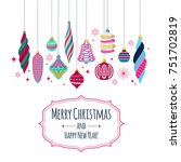 colorful retro baubles... | Shutterstock .eps vector #751702819